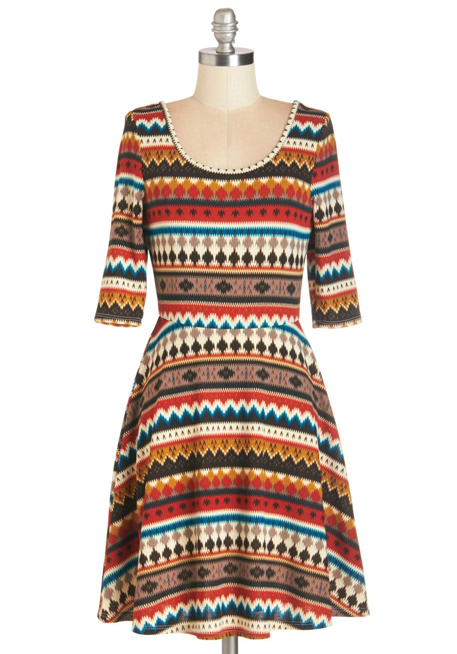 Must Be the Honey Dress - Multi, Stripes, Casual, A-line, 3/4 Sleeve, Fall, Winter, Knit, Short, Orange, Yellow, Blue, Brown, Vintage Inspired, 70s