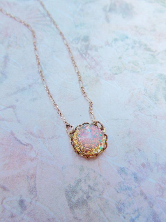 Vintage Glass Fire Opal Necklace - 14K Gold Filled - Vintage Glass Opal, Colorful, Birthstone Jewlery, Shabby Chic. $28.00, via Etsy.
