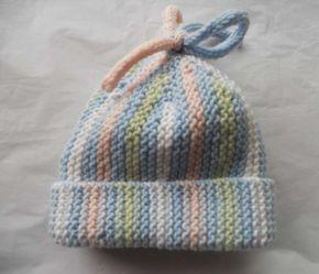 Cappelli di lana per bambini ai ferri - Cappello a righe  3071b75b6cf3