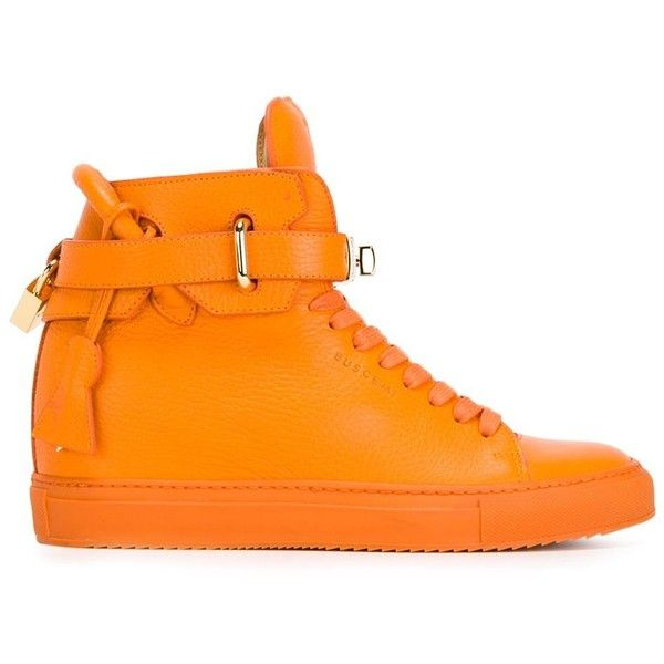 Buscemi Alta Hi-Top Sneakers (€940) ❤ liked on Polyvore featuring shoes, sneakers, hidden wedge sneakers, high top sneakers, orange shoes, high top hidden wedge sneakers and buscemi sneakers