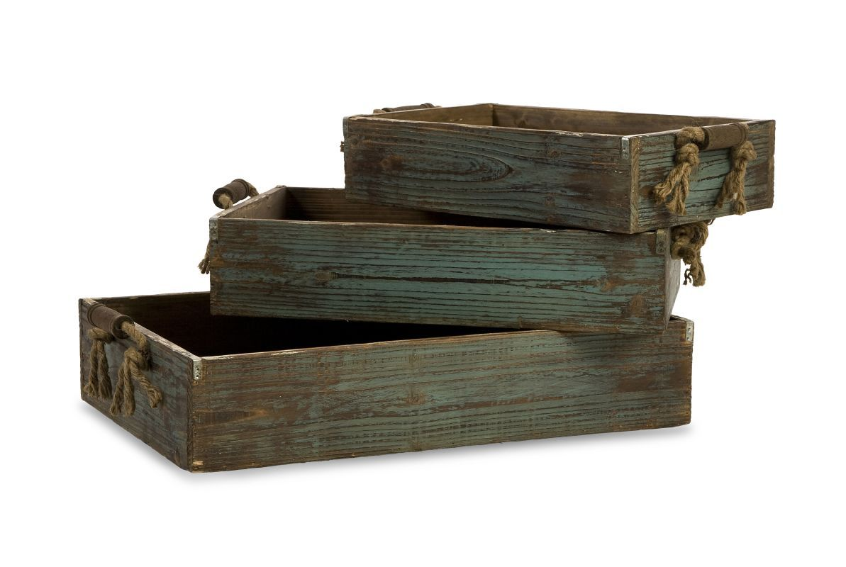 IMAX Home 29106-3 Northfork Wood Trays - Set of 3 Home Decor Accents Decorative Trays