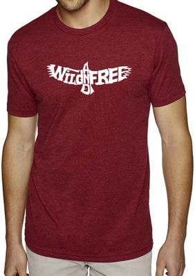 La Pop Art Men's Premium Blend Word Art Graphic T-Shirt - Wild And Free Eagle - Burgundy - S