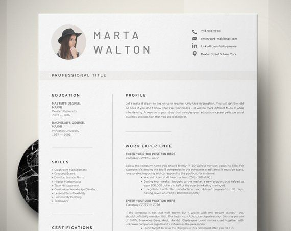 Creative Resume Template Word, Teacher Resume with Photo, Executive