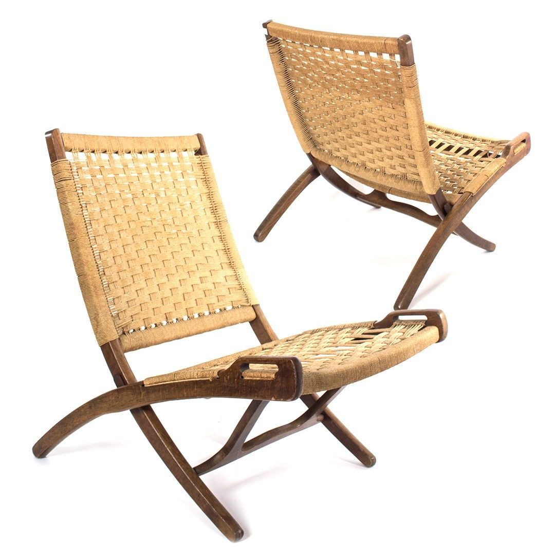Chairs Pair Of Hans Wegner Style Danish Woven Cord Folding