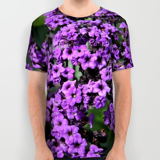 Intriguing Purple Flowers All Over Print Shirts