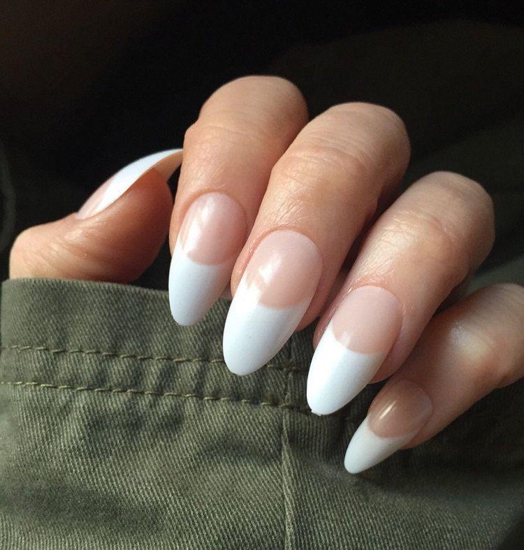 French manicure stiletto almond false nails 24 items per field ...