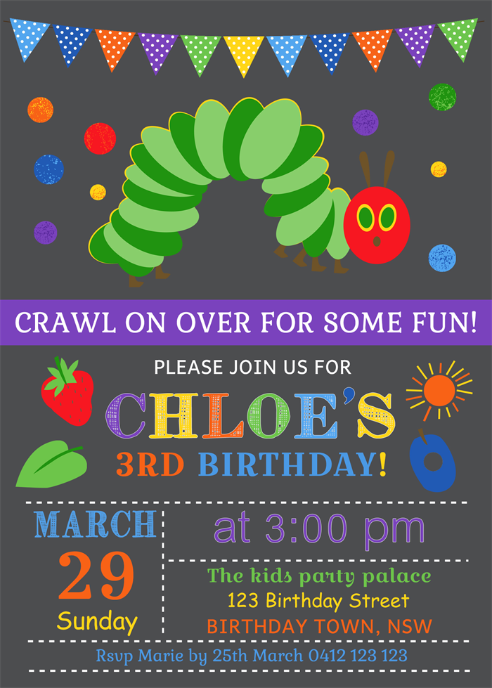 Personalised chalkboard chalk board very hungry caterpillar personalised chalkboard chalk board very hungry caterpillar birthday invites bookmarktalkfo Image collections