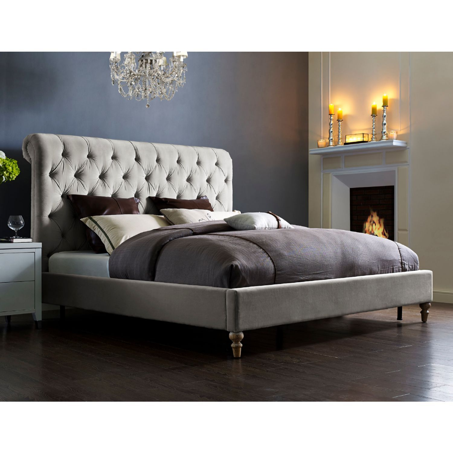 tov furniture putnam queen bed in light grey tufted velvet w reclaimed wood legs - Tov Furniture