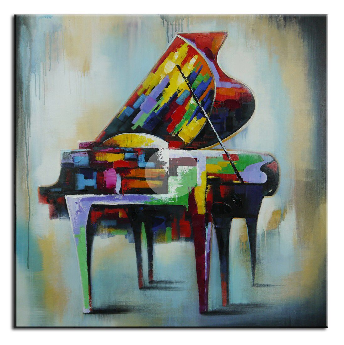 Vintage Piano Oil Canvas 100 x 100cm