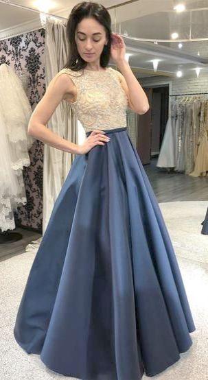 Yangprom Elegant Appliques Floor Length Evening Graduation Party Dresses Prom Dresses For Teens Navy Blue Prom Dresses