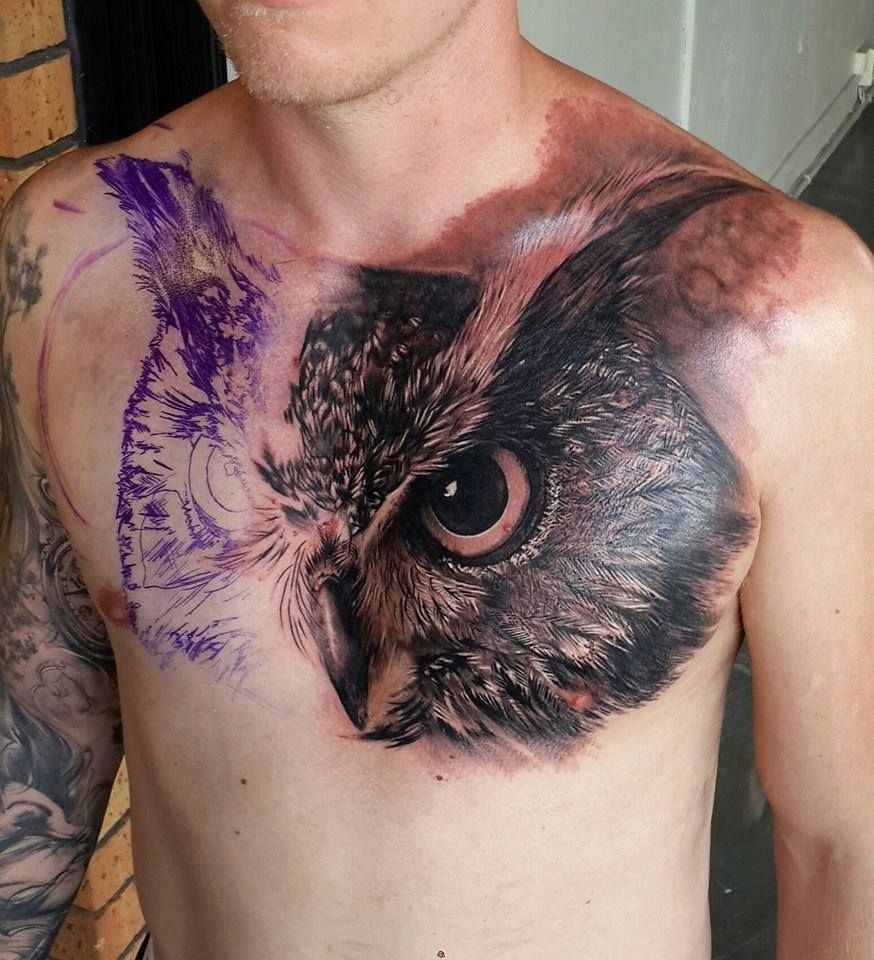 61 Jaw Dropping Chest Tattoos Meaning: Half-ready Owl On Chest
