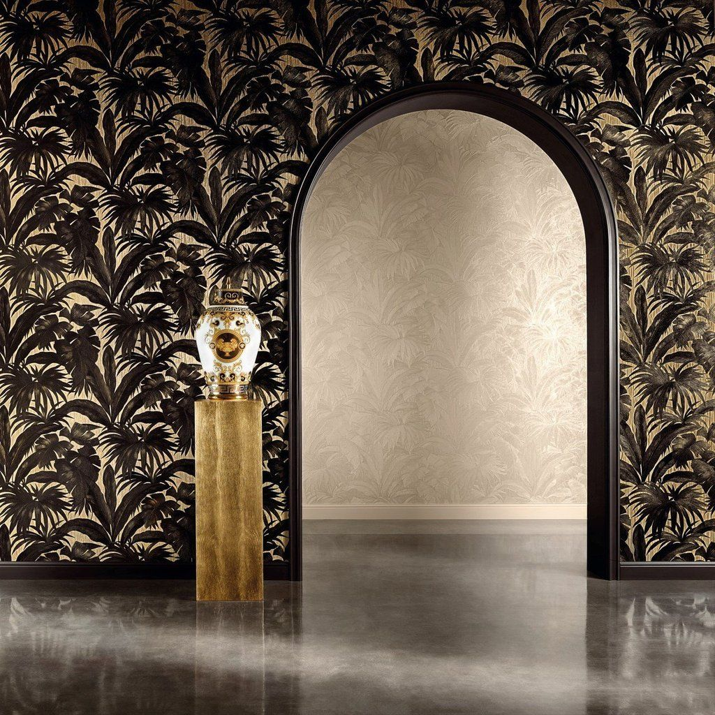 Versace Black And Gold Palm Leaf Wallpaper Lancashire Wallpaper Paint Company Palm Leaf Wallpaper Versace Wallpaper Palm Trees Wallpaper