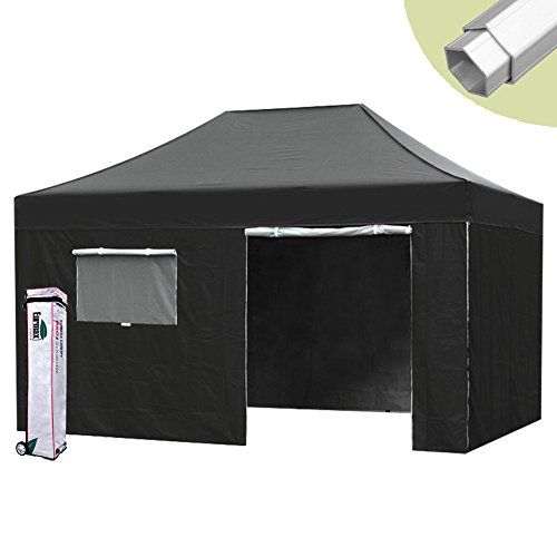 Eurmax Canopy Pro 10x15 Pop Up Black Canopy Wedding Folding Tent W4 Sidewalls And Roller Bag Water Resistant Ez To Set Up Canopy Tent Backyard Canopy Canopy
