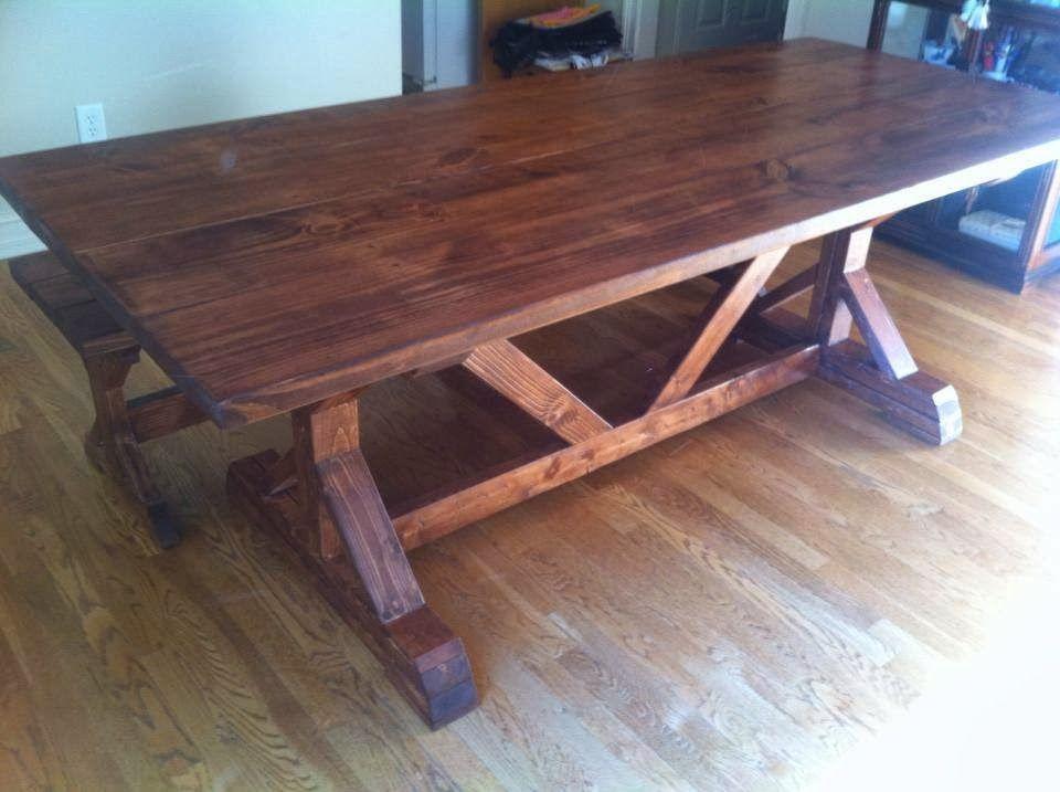 You're Unique: 7 ft. Chavers X Trestle Style Farm Table in English Chestnut  #rusticfurnitureatlanta #georgiafarmtables #restorationhardwaretable