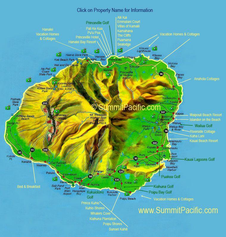 Kauai Map Shows Location Of Kauai Vacation Rentals And