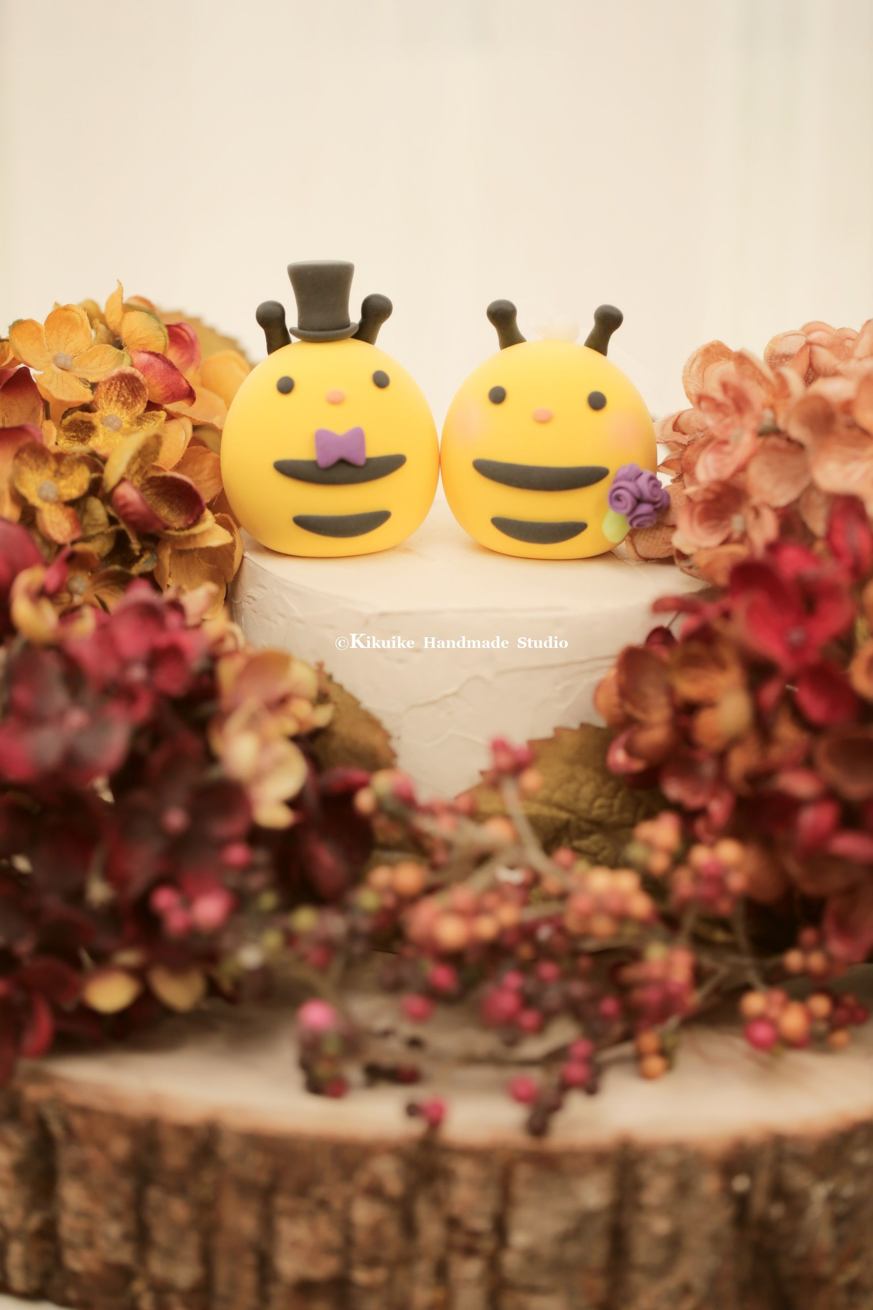 Handmade Bee Bride And Groom Mochiegg Wedding Cake Topper Custom Pets Decoration Ideas