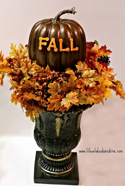 DIY Fall Decor Pumpkin Topiary Tutorial Dollar Store Crafts Life On Lakeshore Drive