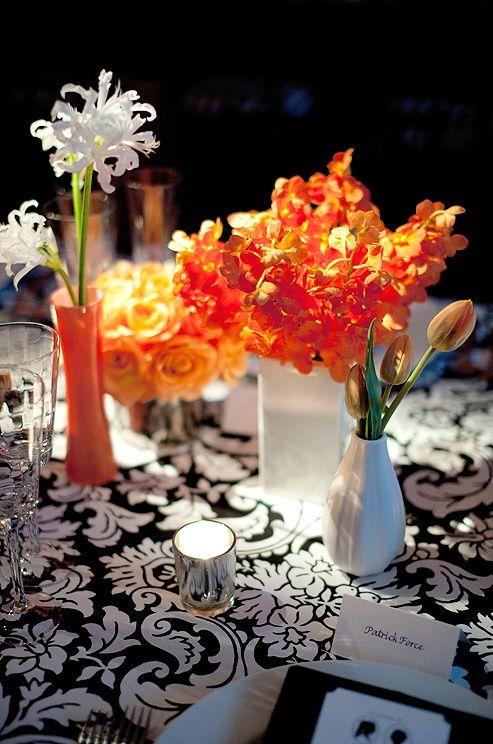 Black White And Orange Wedding