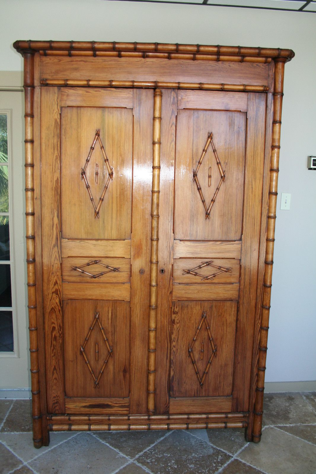 Large Antique French Faux Bamboo Armoire Circa 1880s