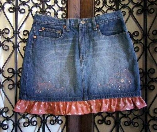Cactus Polo Jeans Denim Skirt | GerisCustomEmbroidery - Clothing on ArtFire