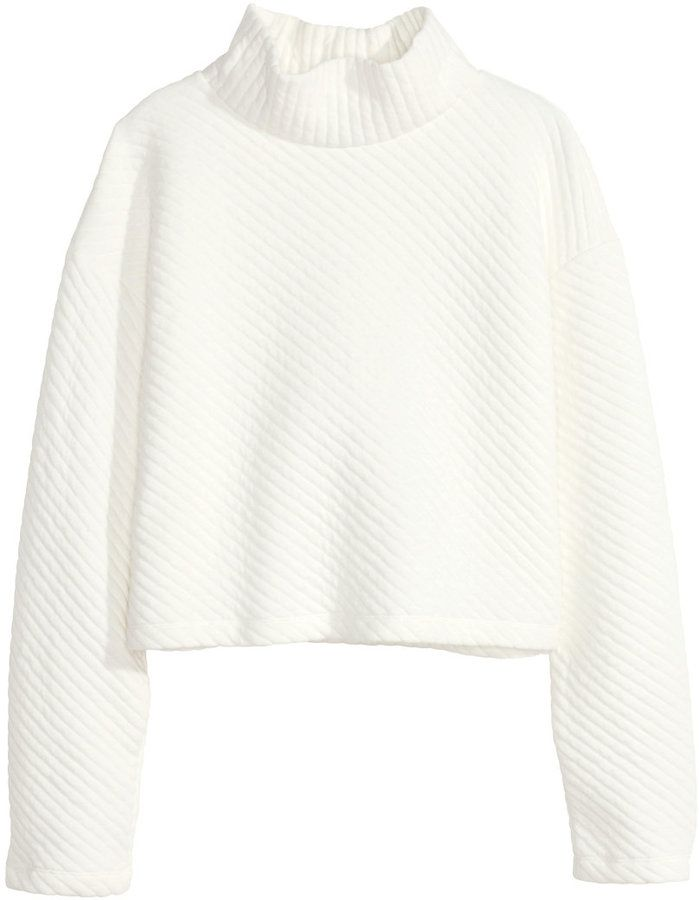 74dbe5e0ae5b H&M Texture-patterned Turtleneck - Natural white - Ladies on shopstyle.com
