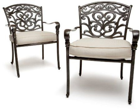 Strathwood St Thomas Cast Aluminum Dining Arm Chair Set Of