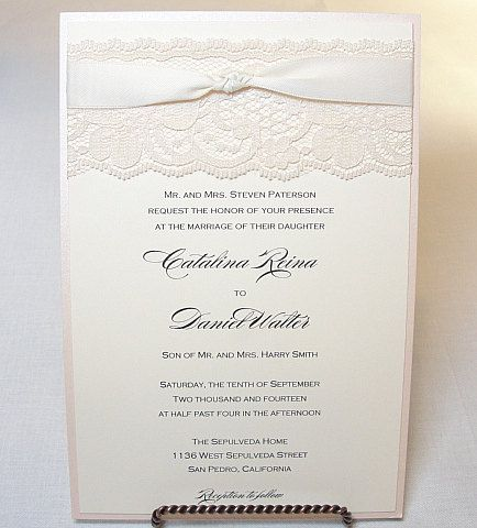 GIA Real Lace Wedding Invitation With Knot By LavenderPaperie1 58125