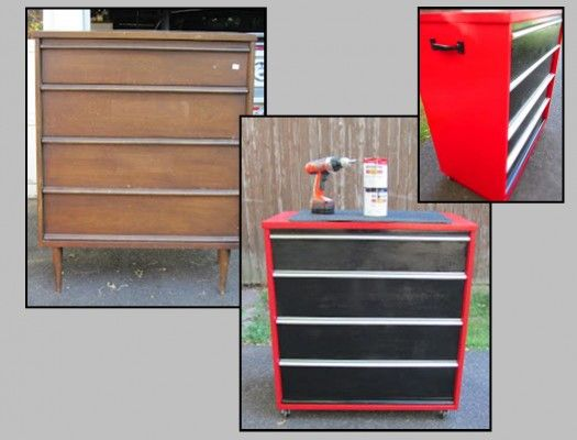 Tool Chest Dresser Makeover: Paint Old Dresser To Look Like A Tool Box! (No DIY- Just A