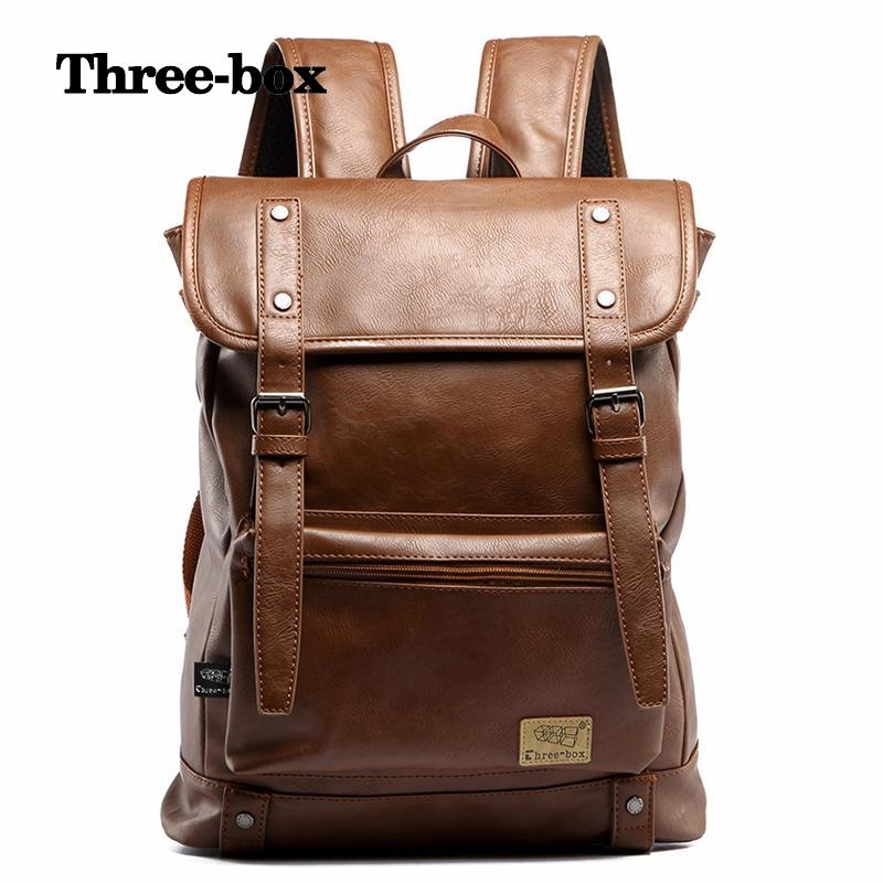 66.25$  Buy now - http://alinfw.shopchina.info/1/go.php?t=32806306144 - three-box 2017 New Brand Solid Travel Mochila Escolar Fashion College Men School Bags Vintage PU Leather Men Backpack 1353 66.25$ #magazineonlinewebsite