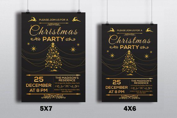 Christmas Invitations Template Christmas Party flyer Template