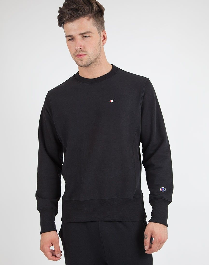 a929f797e85d Champion Crew Neck Sweatshirt in Black | Shop men's clothing at The Idle Man