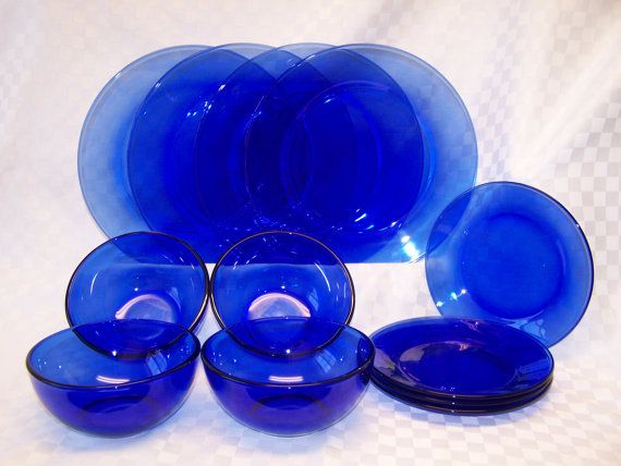 Vintage Cobalt Blue Glass Dinnerware Set Glass Dinnerware Blue