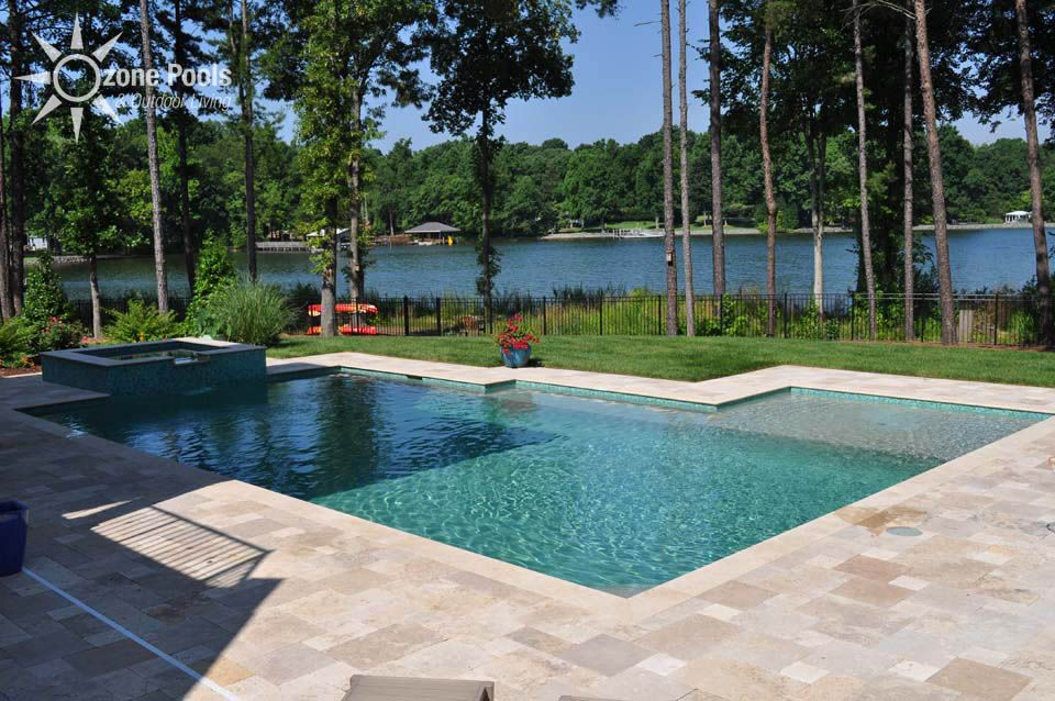 Rectangle Pool With Spa rectangular pool & spa with glass tile | pool and lanai ideas