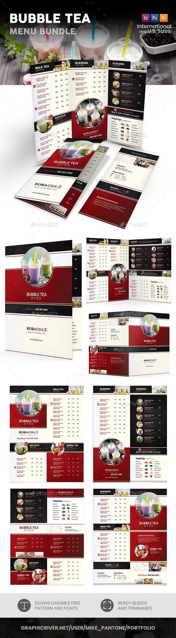 Bubble Tea Menu Print Bundle 2 — Photoshop PSD #coffee # ...
