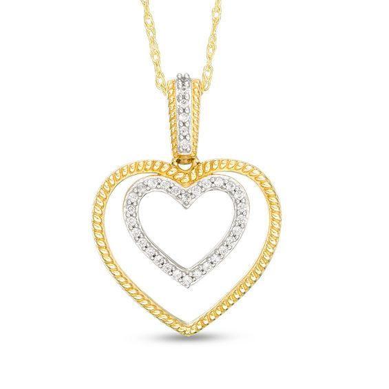 Zales 1/6 CT. T.w. Diamond Double Heart Pendant in 10K Gold p3fGk