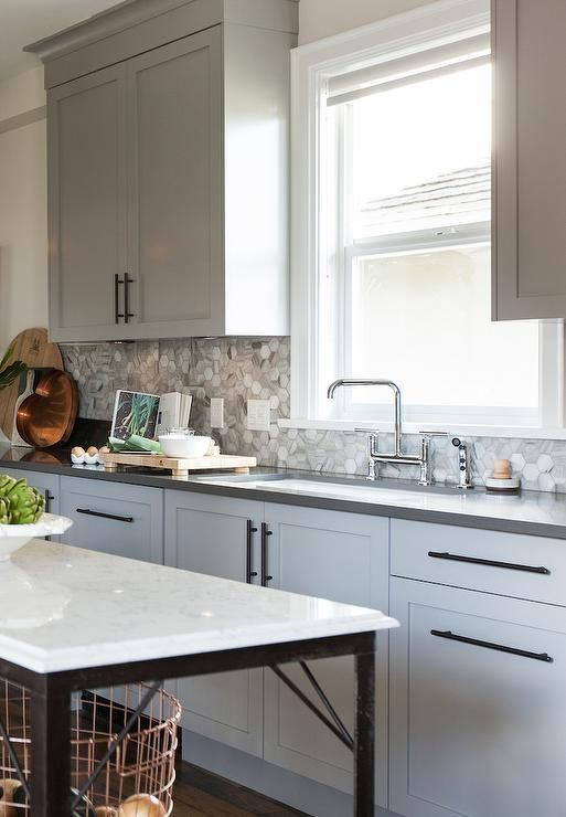 Gray Kitchen Cabinets With Bronze Pulls Transitional Kitchen Shaker Style Kitchen Cabinets Kitchen Cabinet Styles Grey Kitchen Cabinets
