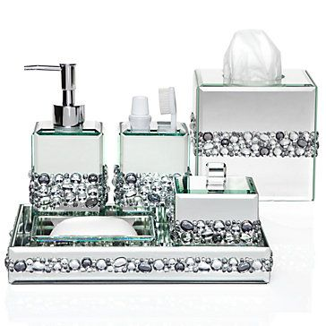 Each Piece Is A Surround Of Sparkly Beveled Mirror Accented With Band Orted Clear And Smoky Crystals Ricci Vanity Collection 119 95