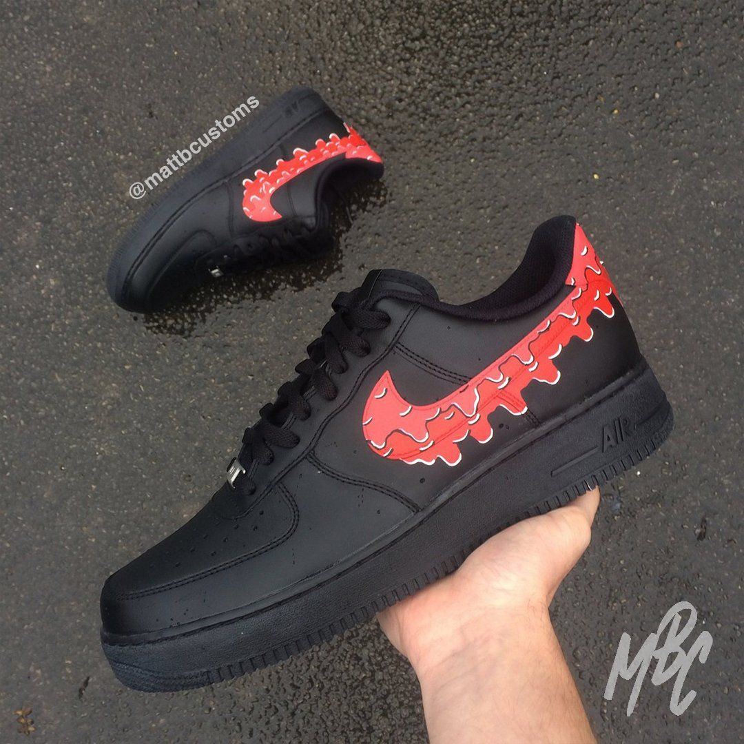 Nike af1 black red drip in 2020 Swag shoes, Hype shoes