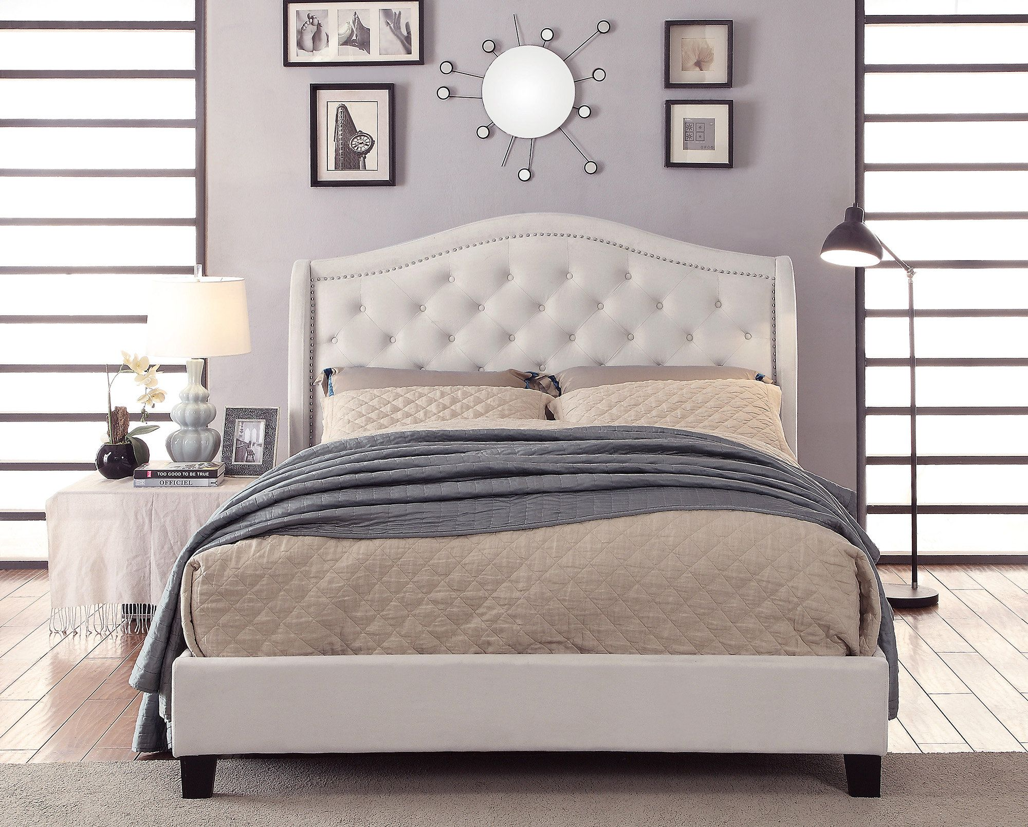 Virginia Queen Upholstered Platform Bed Furniture