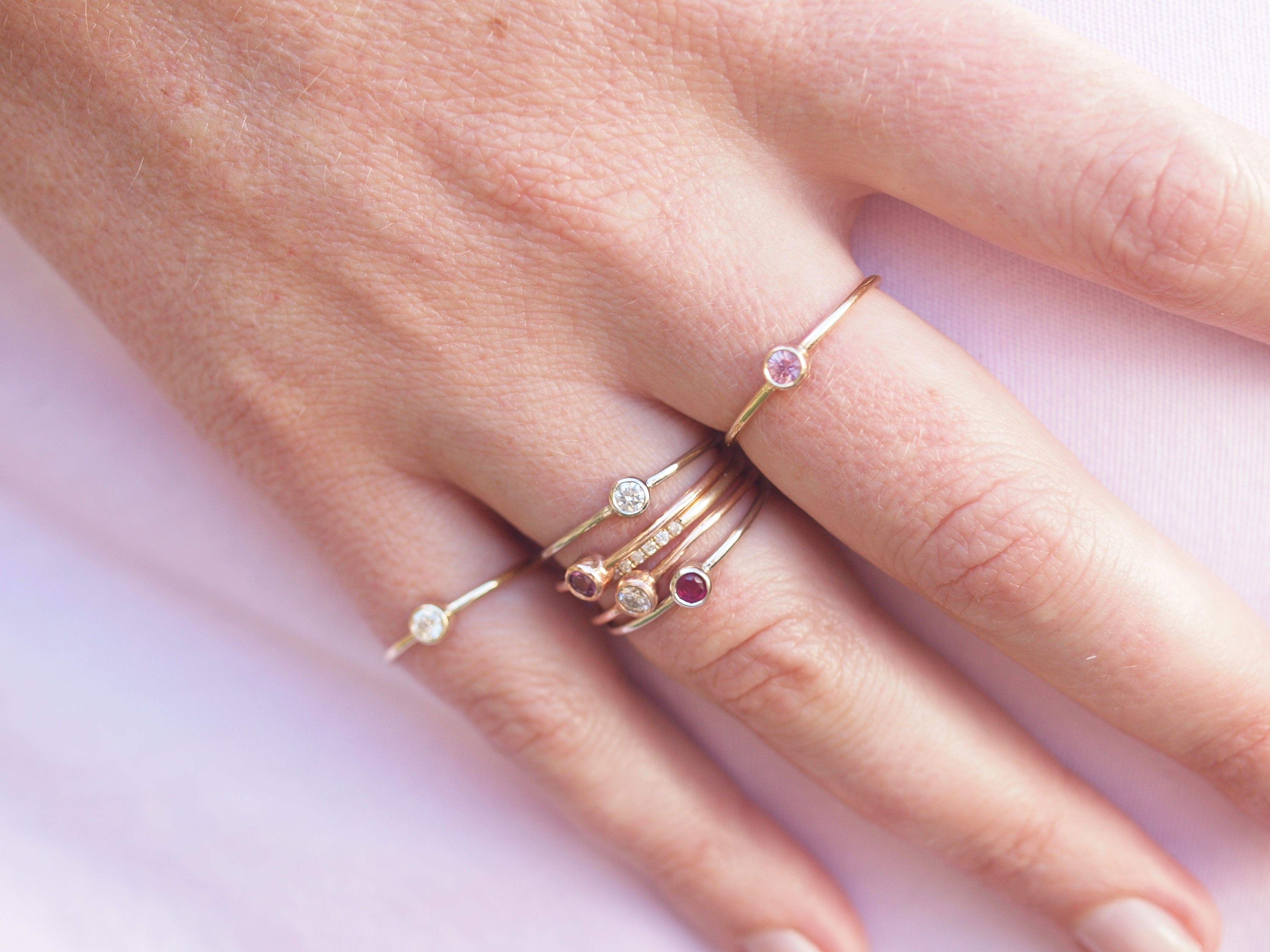Stacking rings in pink sapphire, Ruby and Diamond! 14k gold ...
