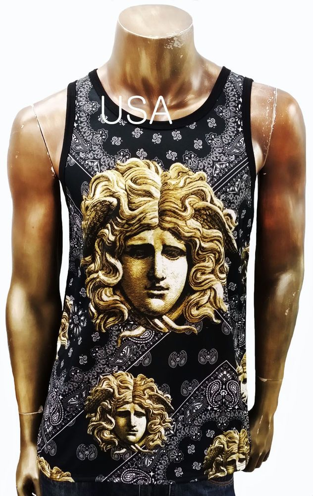 395c7ef12392b Men's looked Versace Medusa Face Gold Chained Art Graphic SUBLIMATION Tank  TOP #FK #GraphicTee