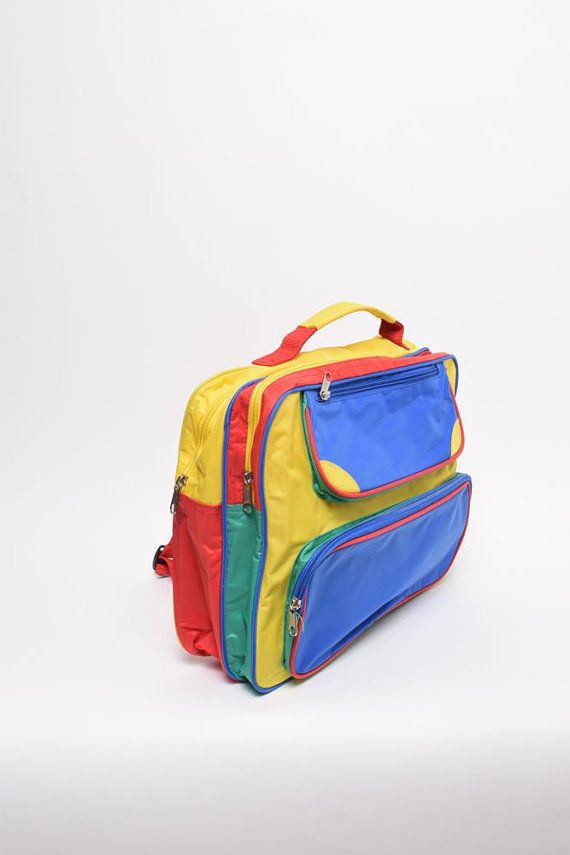 81d073d23699 Vintage 90 s Colorblock Kid s Backpack by BlackPaganVintage ...
