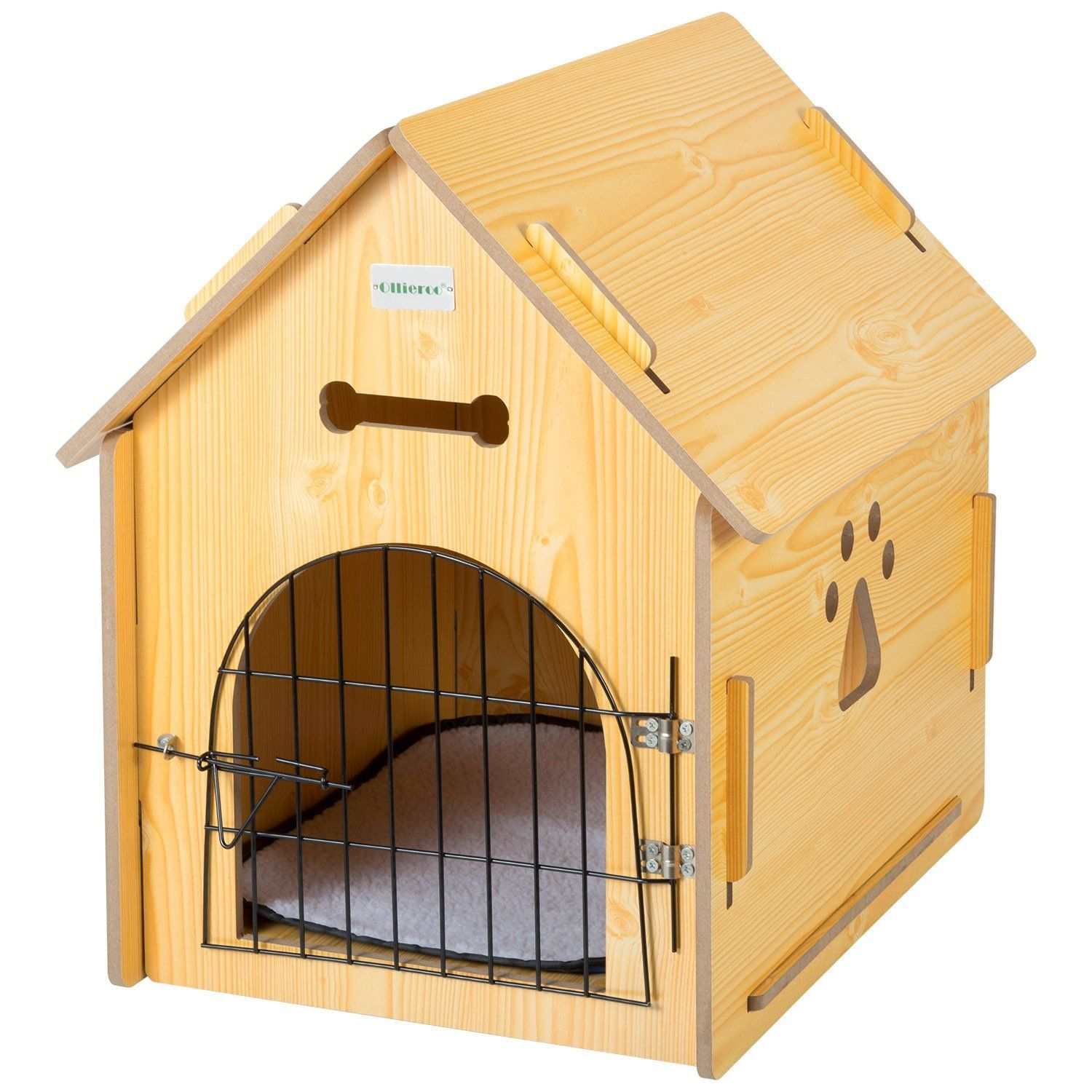Amazon Com Ollieroo Dog House Crate Wooden Kennel Indoor Condo For Small Dogs Cats Pet Home With Door And Bed Mat Yell Dog Pet Beds Cat Crate Cool Dog Houses