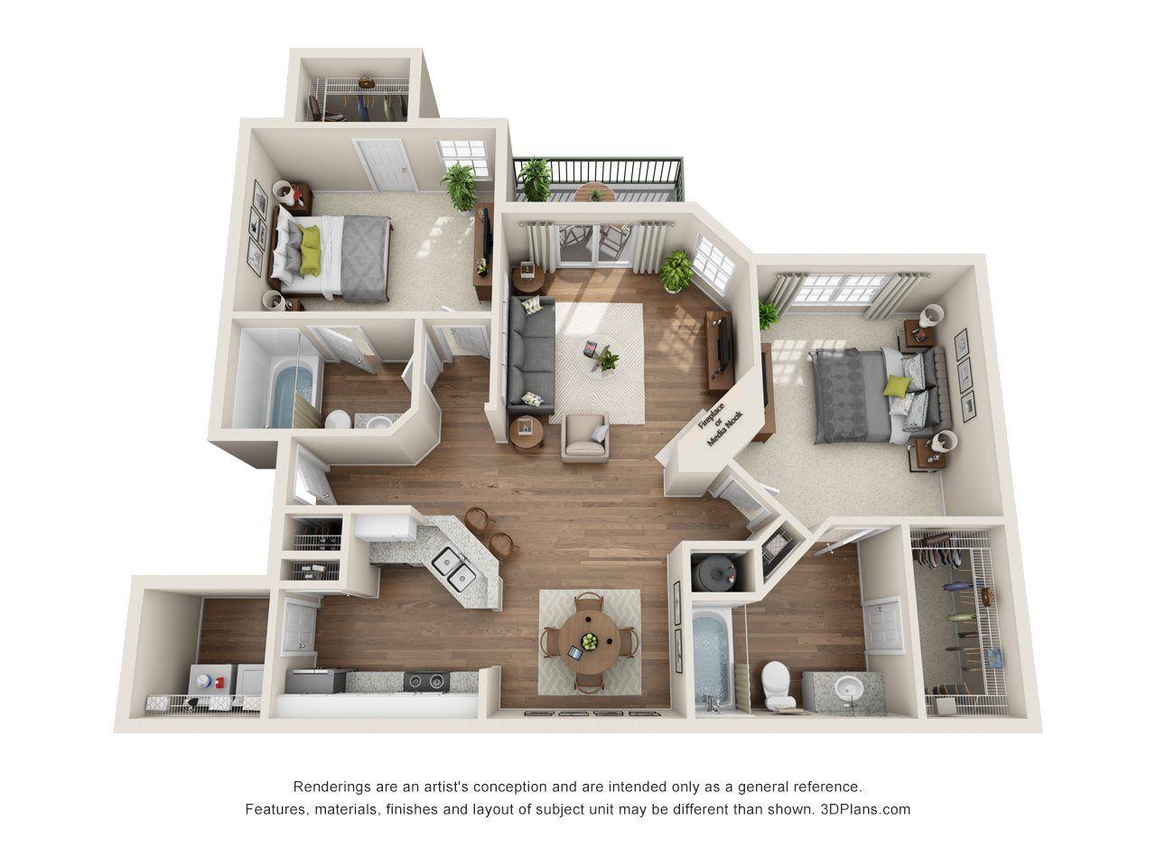 The Buckingham 2 Bed 2 Bath Floor Plans House Styles Contemporary Apartment