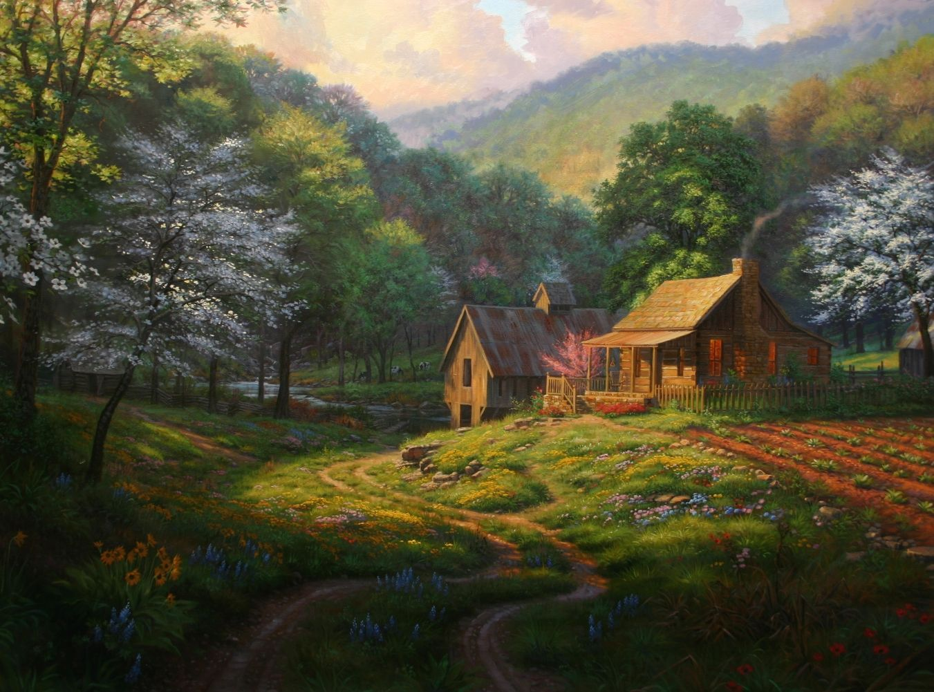 Log cabin in the woods painting - Mountain Cabins Country Blessings By Mark Keathley As Painted In Stages