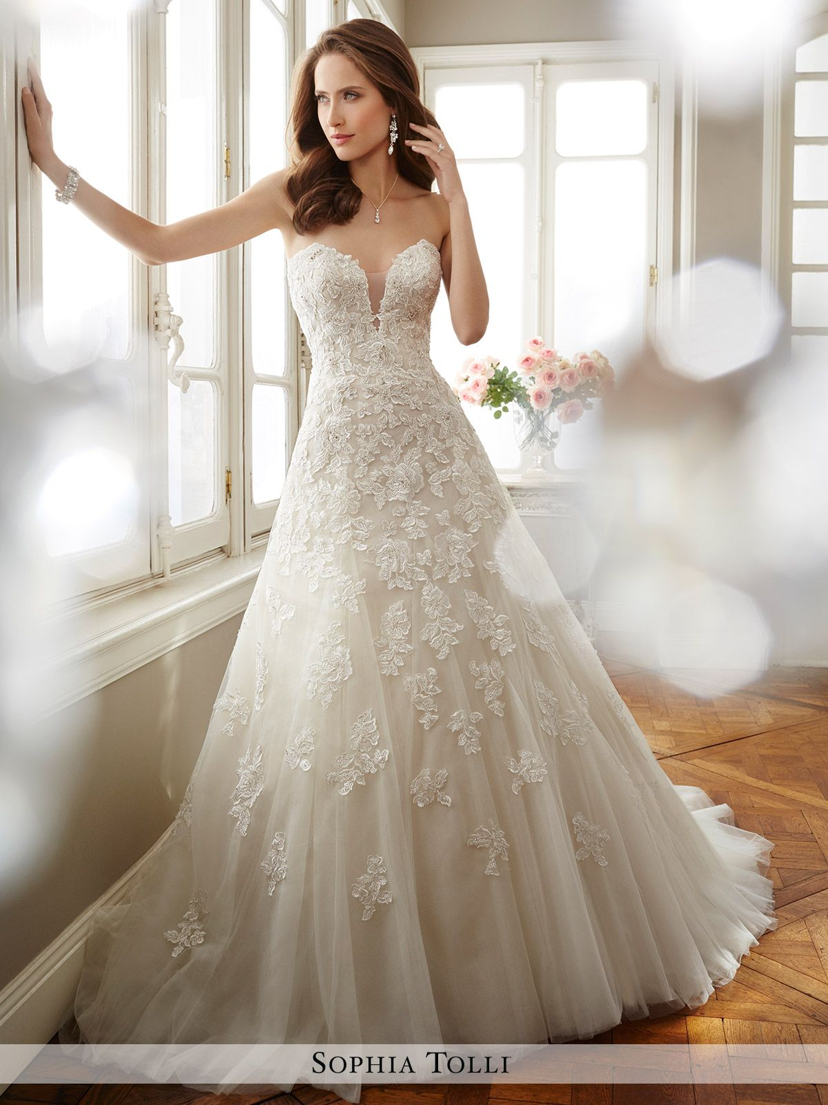 899f0f34a Strapless misty tulle A-line gown with deep plunging sweetheart neckline  and sheer peekaboo,