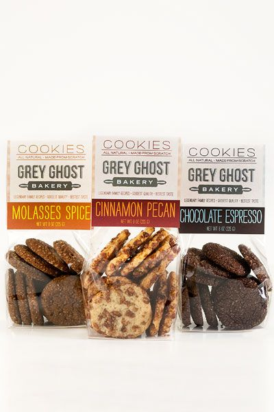 Grey Ghost Bakery Cookies. Molasses Spice, Cinnamon Pecan and my favorite - Chocolate Espresso