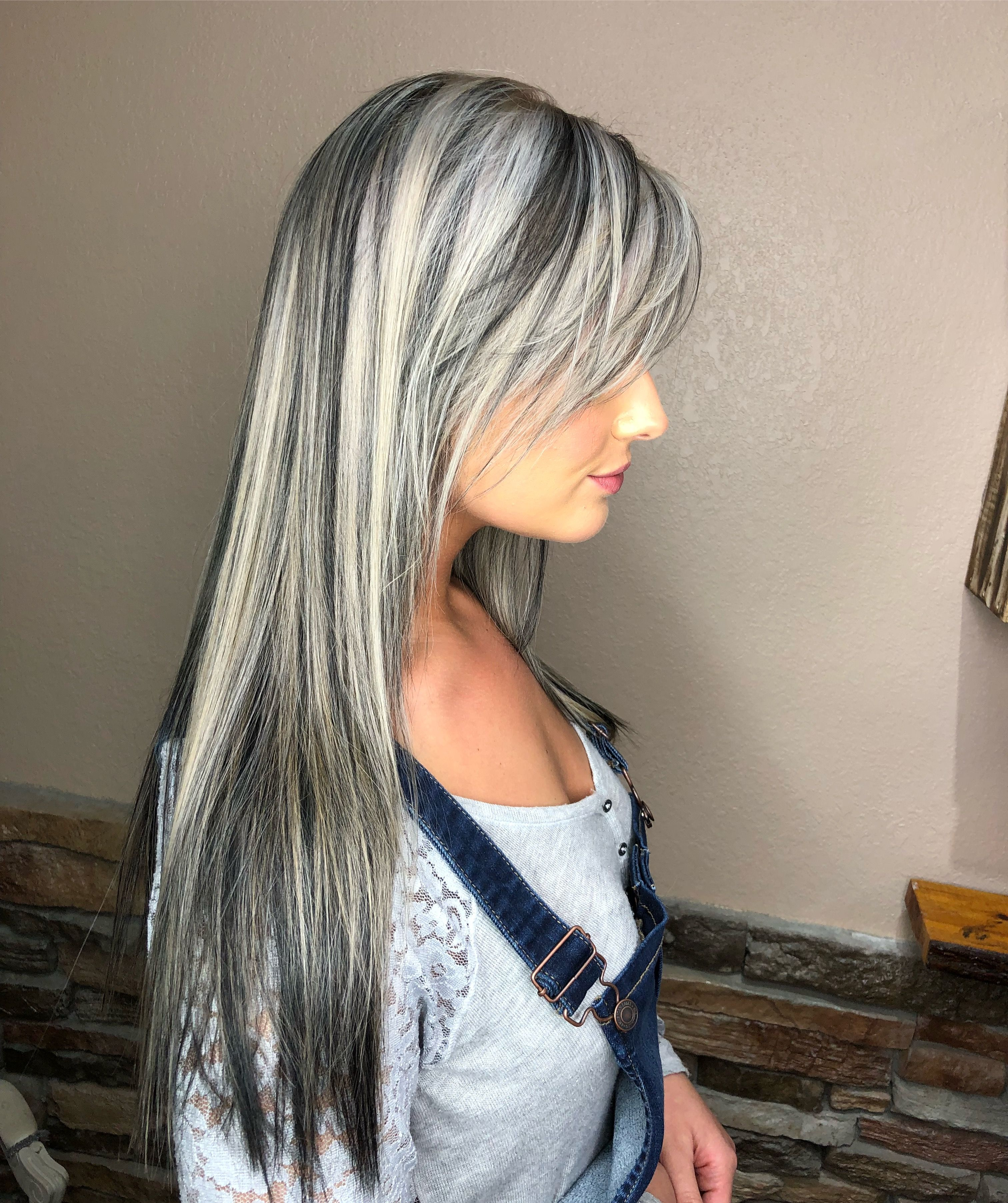 White Blonde With Black Lowlights Hair Color For Black Hair