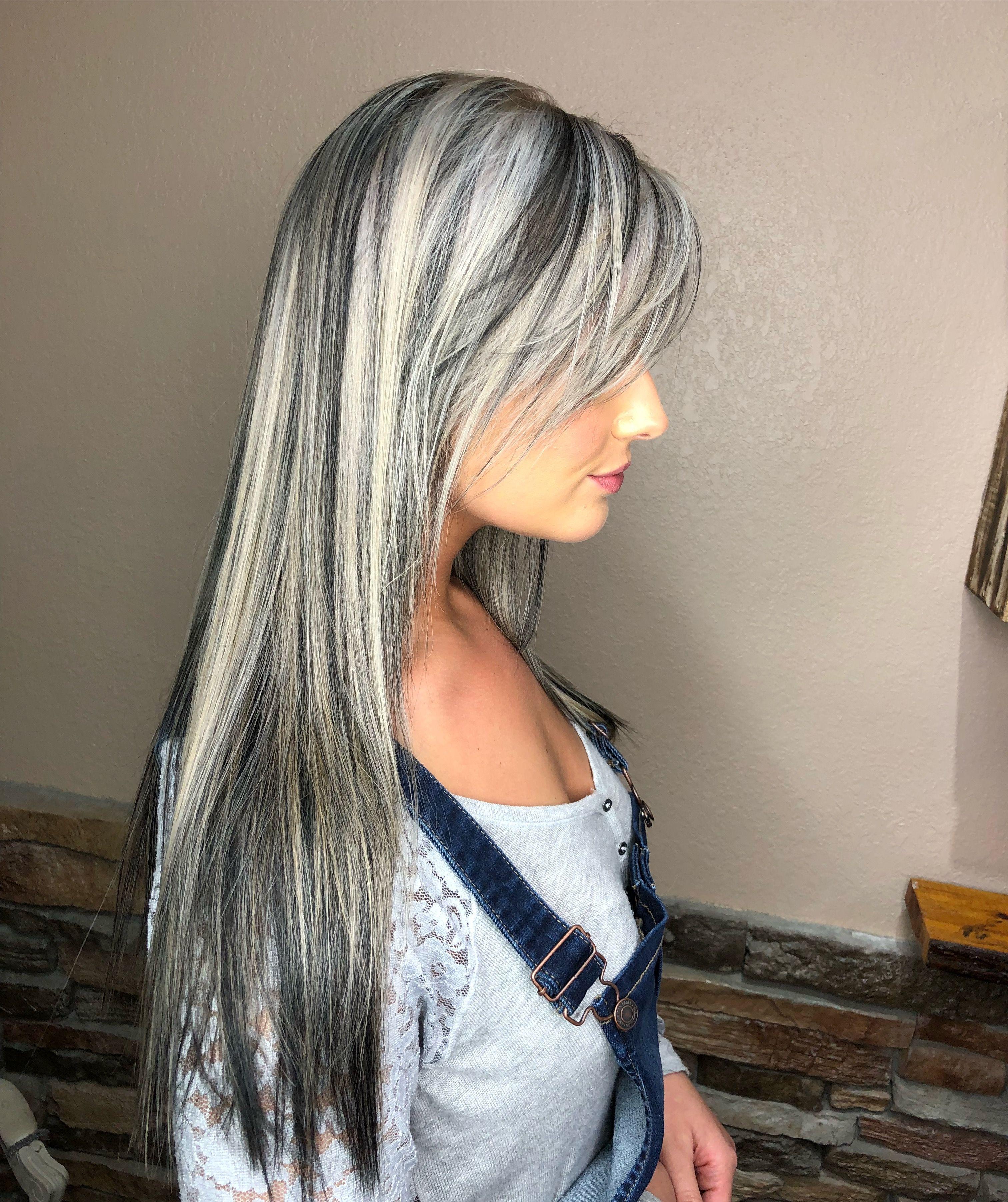 White Blonde With Black Lowlights Grey White Hair Blonde Hair Color Hair Color For Black Hair