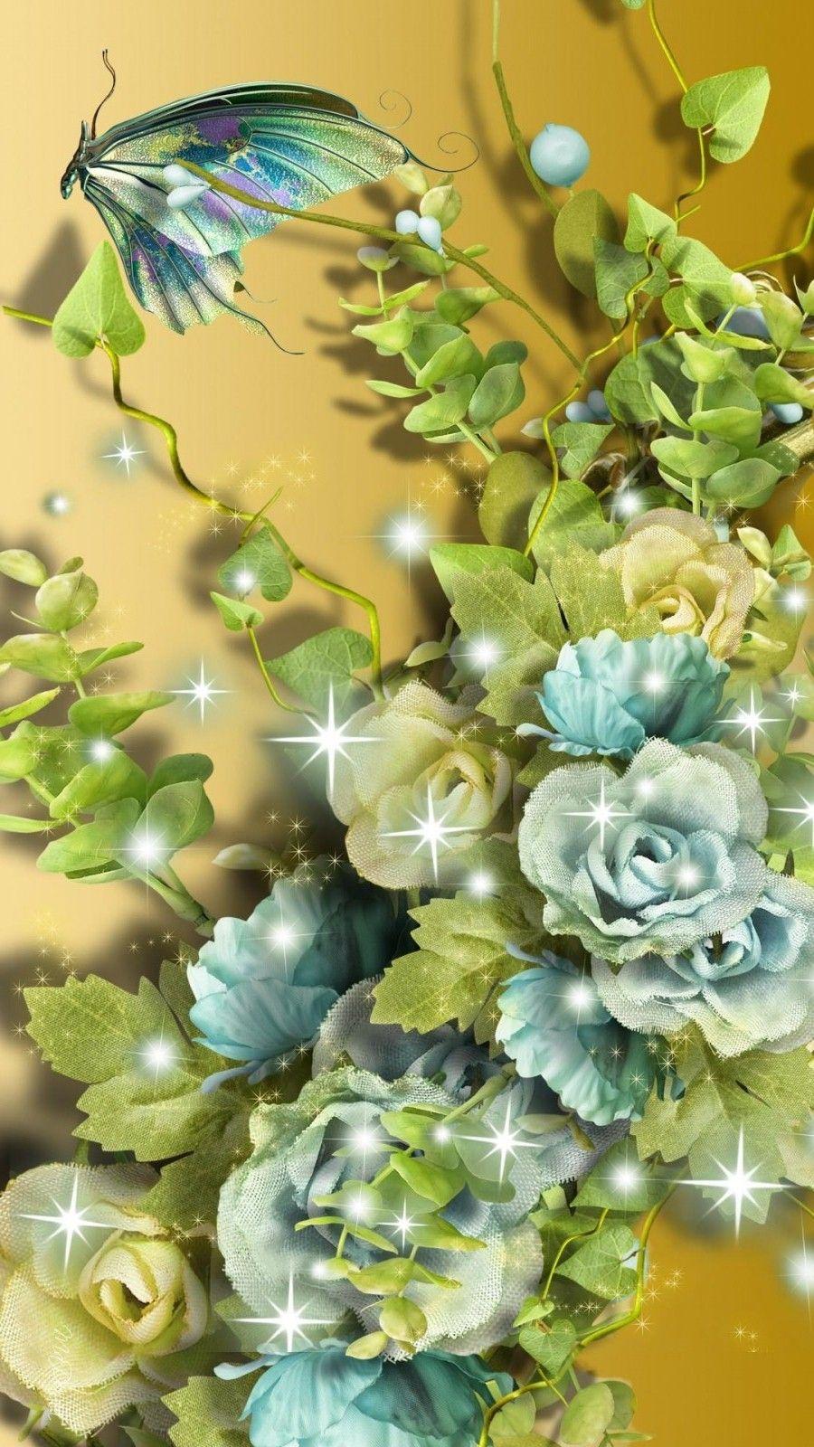 3D Aqua Flowers Wallpaper IPhone